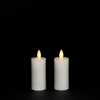 LightLi by Liown - Moving Flame - Flameless LED Candles - Pair of 1.5-Inch x 4.0-Inch Votives - IIvory ABS Plastic - Remote Ready