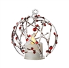 Liown - Berry Branch Ornament With Non-Moving Flame LED Tealight - 3.5-Inch Diameter Glass Globe - Remote Ready