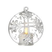 Liown - Snowflake Ornament With Non-Moving Flame LED Tealight - 3.5-Inch Diameter Glass Globe - Remote Ready