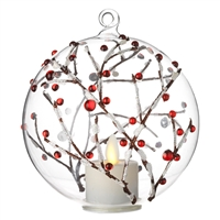 Liown - Berry Branch Ornament With Non-Moving Flame LED Tealight - 5-Inch Diameter Glass Globe - Remote Ready