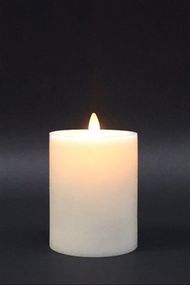 "Avalon - Flat Top Moving Flame - Flameless LED Candle - Indoor - Unscented Frosted Ivory Wax - Remote Ready - 3.5"" x 5"""
