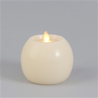 "Everlasting Glow - Motion Flame - Flameless LED Candle - Indoor - Ivory Wax - Flat Top Sphere - Vanilla Scented - 3.7"" x 3.75"""