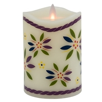"Temp-tations by Tara - Flameless LED Candle - Indoor - Ivory Wax - Old World Confetti Pattern - 3.25"" x 5"" - Remote Ready"