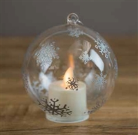 LightLi by Liown - Pewter Snowflake Ornament With Moving Flame LED Tealight - 3.5-Inch Diameter Globe - Remote Ready