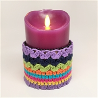 Flameless Candle Cuff - Crocheted Fabric Material - Boho Striped Pattern - For 3.5-Inch x 5-Inch Flameless Candles