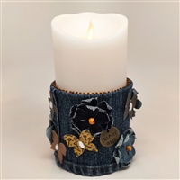 Flameless Candle Cuff - Blue Denim Fabric - Butterflies and Flowers - For 3.5-Inch x 7-Inch Flameless Candles