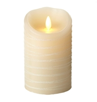 "Luminara - Flameless LED Candle - Indoor - Ivory Wax - Spun Glitter Ribbon - 3.5"" x 5"" - Remote Ready"
