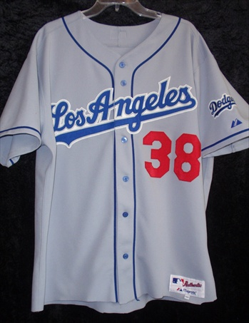 Eric Gagne's Los Angeles Dodgers Game-Worn Road Jersey.