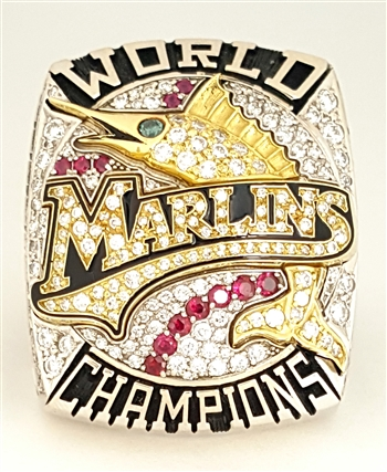 2003 Florida Marlins World Series Champions 14K Gold Ring w/ all Real Diamonds and Rubies!