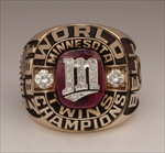 1987 Minnesota Twins World Series Champions 10K Gold BALFOUR *Proto-Type* Ring w/ All Real Diamonds
