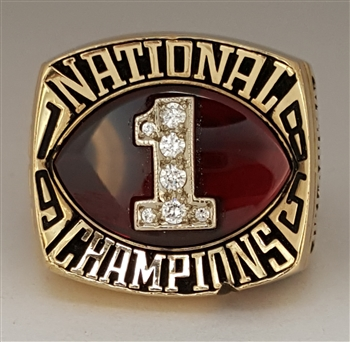 "1985 Oklahoma Sooners Football ""National Champions"" 10K Gold Football Player's Ring!"