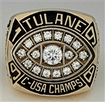 "1998 Tulane Green Wave Conference-USA / ""Liberty Bowl"" Champions 10K Gold PERFECT SEASON (12-0) Football Ring! {{ Star Player }}"