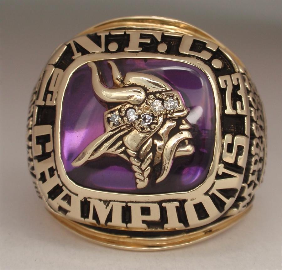 "Minnesota Vikings Super Bowl VIII ""N F C Champions"" 10K Gold Ring"