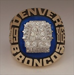 "1986 Denver Broncos Super Bowl XXI ""AFC Champions"" 10K Gold & Diamond Ring! {{ Balfour Proto-Type }} *John Elway*"
