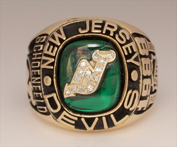 "1988 New Jersey Devils ""Patrick Division"" Playoff  Champions 10K Gold Ring w/ Diamonds"