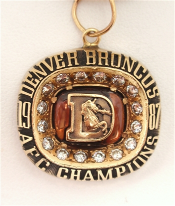 "Mark Jackson's 1987 Denver Broncos Super Bowl XXII ""A.F.C. Champions"" 10K Gold & Diamond Pendant!"