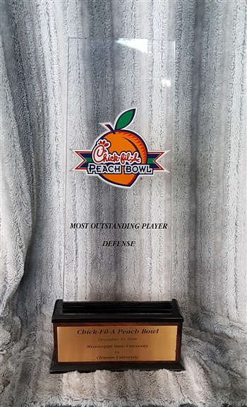 "1999 Clemson Tigers Chick-fil-A Peach Bowl ""Most Outstanding Defensive Player"" Award / Trophy!!"
