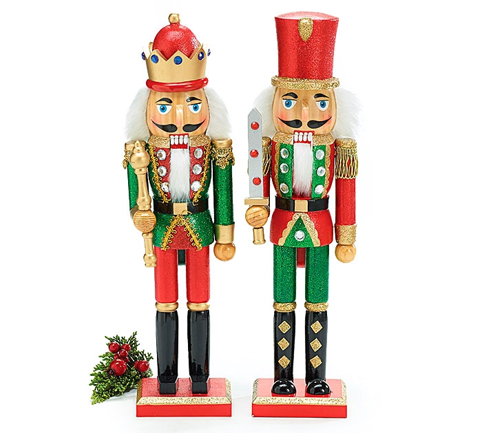 christmas nutcracker soldiers with glitter accents