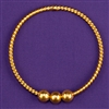 Lost Cubit (LC) 1/2 Light-Life<sup>®</sup> Ring, copper, 24K gold plated, 3 beads