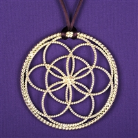 1/2 Sacred Cubit Light-Life Lotus Pendant, copper, silver plated