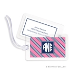 Repp Tie Pink + Navy Bag Tag