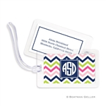 Chevron Pink, Navy + Lime Bag Tag