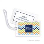 Chevron Blue, Orange + Lime Bag Tag