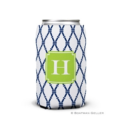Bamboo Navy + Green Can Koozie