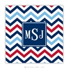 Chevron Blue + Red Coasters