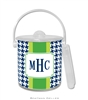 Alex Houndstooth Navy Lucite Ice Bucket