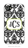 Madison Damask White with Black Cell Phone Cover