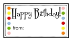 Rectangle Birthday Dot Sticker