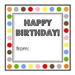 Square Birthday Dot Sticker