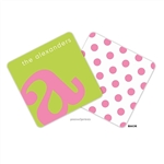 Alphabet Bubblegum on Chartreuse Personalized Coasters