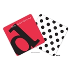 Alphabet Black on Cherry Personalized Coasters