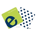 Alphabet Navy on Chartreuse Personalized Coasters