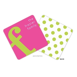 Alphabet Chartreuse on Hot Pink Personalized Coasters