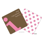 Alphabet Bubblegum on Chocolate Personalized Coasters