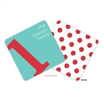 Alphabet Poppy on Turquoise Personalized Coasters