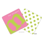 Alphabet Chartreuse on Bubblegum Personalized Coasters