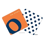 Alphabet Navy on Tangerine Personalized Coasters