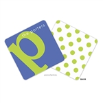 Alphabet Chartreuse on Cobalt Personalized Coasters