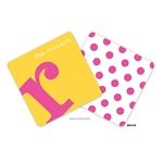Alphabet Hot Pink on Sunshine Personalized Coasters