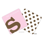 Alphabet Chocolate on Pink Personalized Coasters