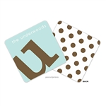 Alphabet Chocolate on Robins Egg Personalized Coasters