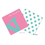 Alphabet Turquoise on Bubblegum Personalized Coasters