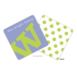 Alphabet Chartreuse on Periwinkle Personalized Coasters