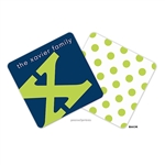 Alphabet Chartreuse on Navy Personalized Coasters