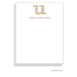 Big Letter Damask Bubblegum Large Notepad