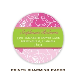 Elegant Pink Floral with Lime Round Address Label